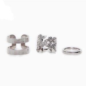 Silver 3 Piece Ring Set